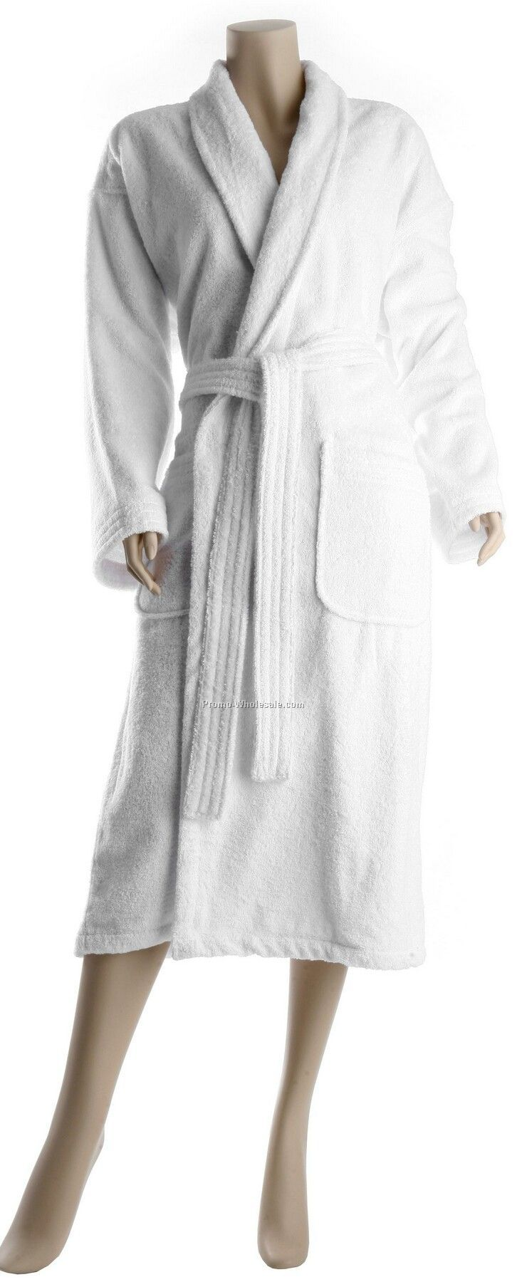 "52"" X-long Luxury Loop Terry Turkish Pleat Back Hotel Shawl Collar Robe"