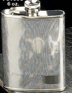 6 Oz. Stainless Steel Chrome Plated Checkered Flask
