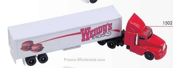 "8"" Die Cast Replica Traditional Transport Hauler (White Hauler/Red Cab)"