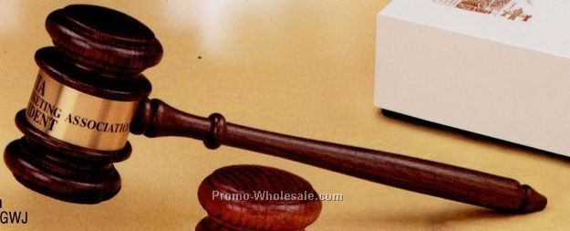American Walnut Judge's Gavel W/ Engraving Band