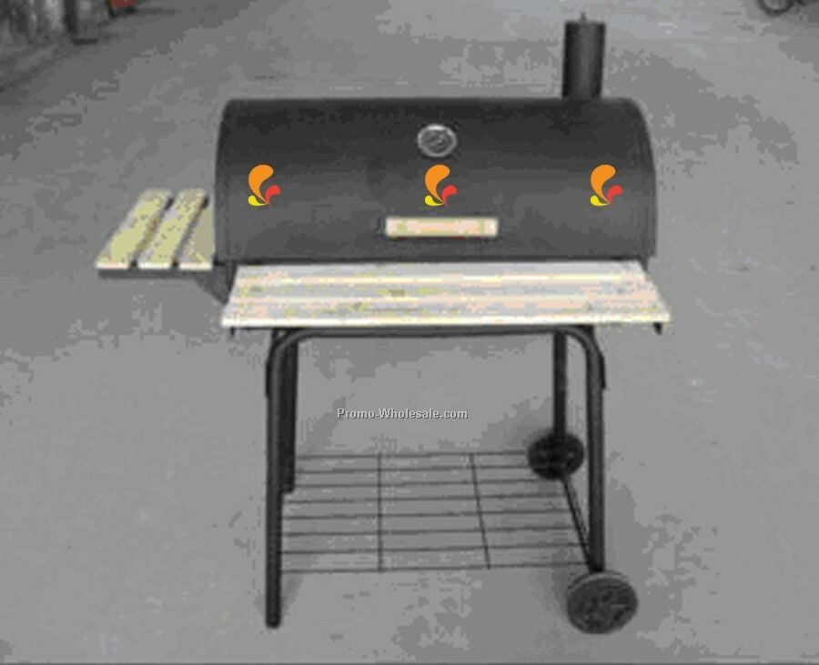 Barbecue Grill - Barrel Style With Rack On Front And Side