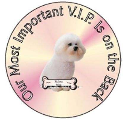 "Bichon Frise Dog Round Hand Mirror W/ Full Mirror Back (2-1/2"")"