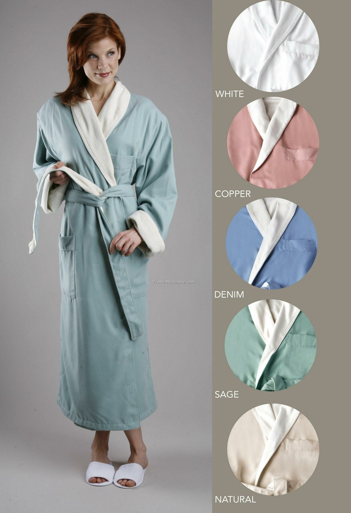Brushed Ultra Lux Microfiber Outside / Poly Knit Terry Inside Shawl Robe
