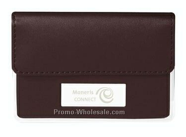 Chocolate Leather Business Card Case W/ Chrome Plate & Trim