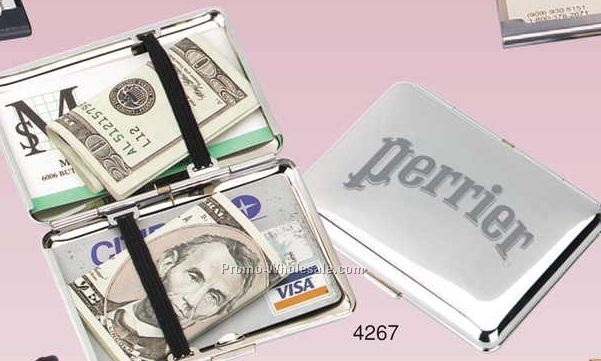 Chrome Travel Cash Box (Engraved)