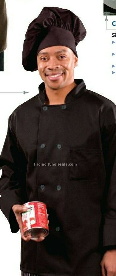 Classic Chef Coat (2x-large/ Black) Traditional Twill
