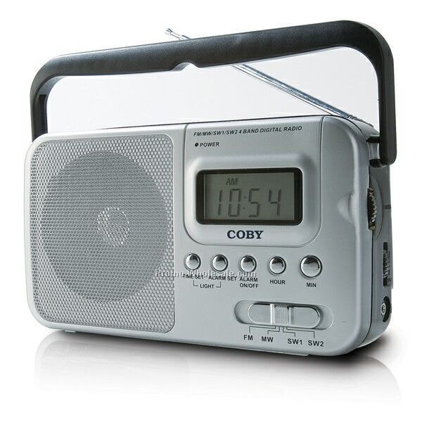Coby Portable AM/FM/Sw1/Sw2 Band Radio W/ Digital Display