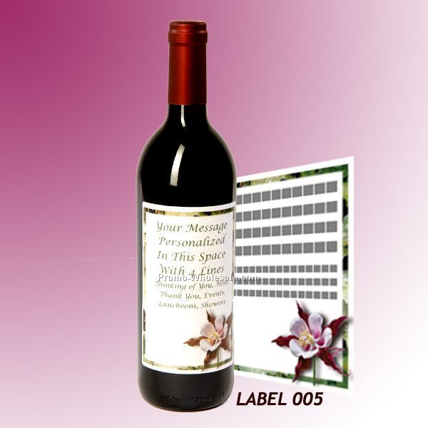 Custom Wine Gift With Personalized Stock Label - Flowers / Orchid Or Lilies