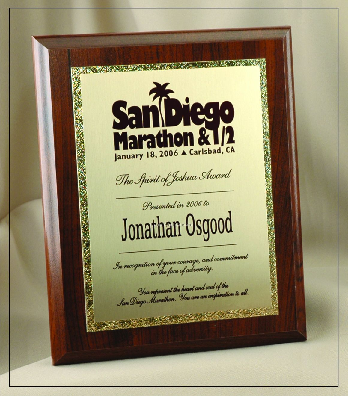 "Deluxe Traditional Rectangle Plaque W/ Gold Tone Plate (6""x8"")"