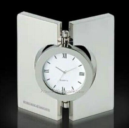 "Essentials Diviseur Hinged Brushed Desk Clock 3-1/2""x3-1/2"""