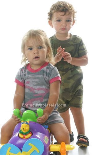 Infants Heather Camouflage Short Sleeve Romper (6m-24m)