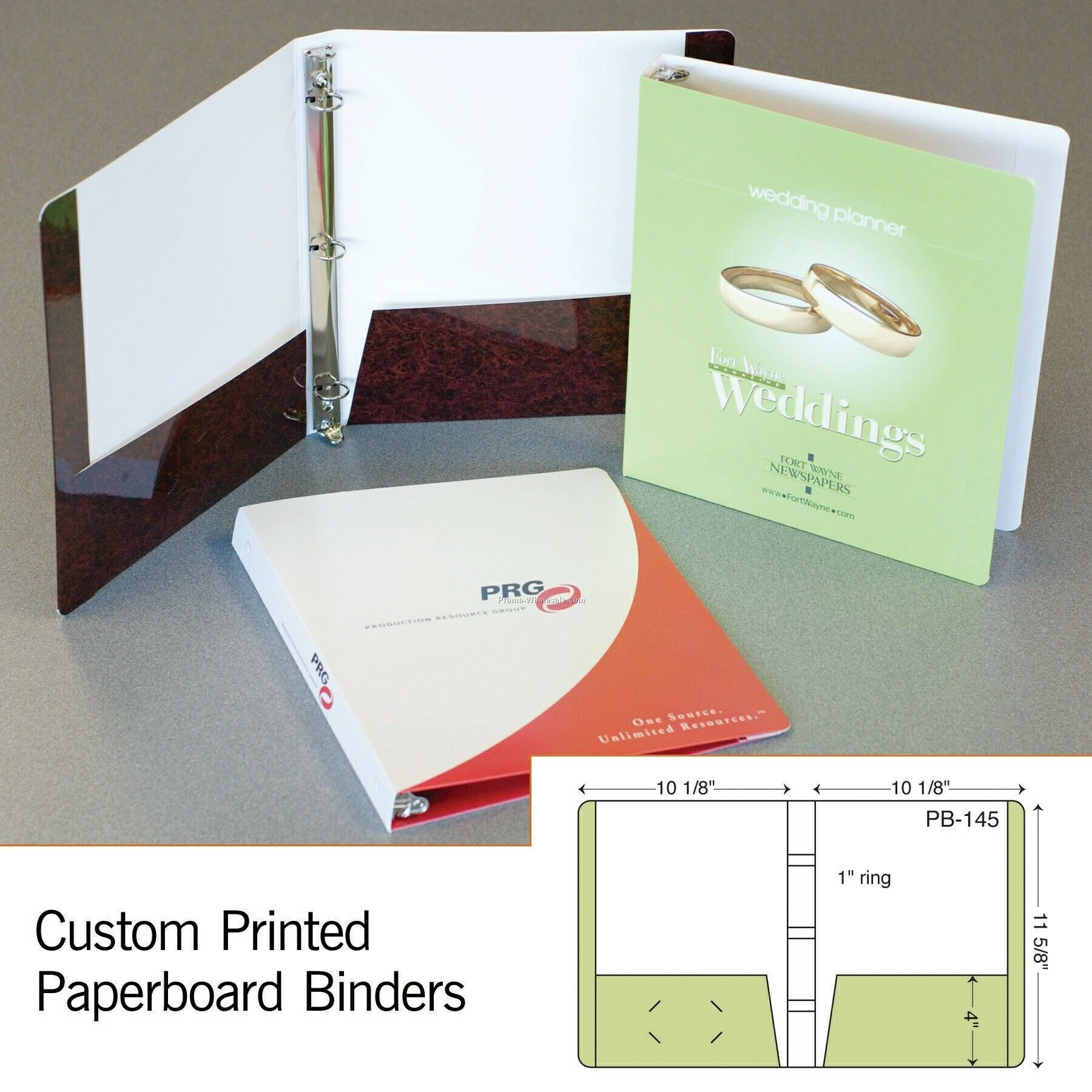 "Laminated 3 Ring Binder W/ 2 Pockets - 2 Color (11-5/8""x10-1/8"")"