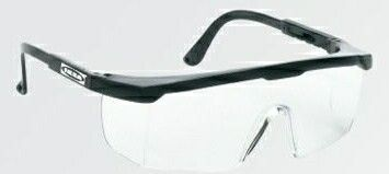 Large Single Lens Safety Glasses W/Clear Lens & Black Frame