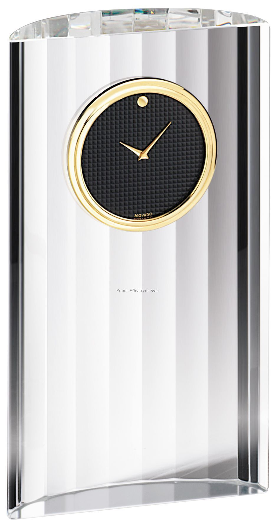 Movado Black Museum Dial Crystal Clock W/ Gold Accents