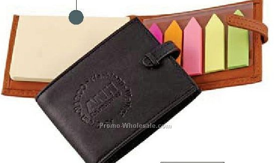 Top Grain Leather Pocket Post It Note/ Flag Holder