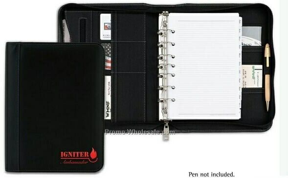 "Valencia Bonded Leather Ring Binder With Zipper - 1-1/4"" Ring"