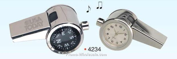 "1""x1""x2"" 3-in-1 Chrome Whistle W/ Clock & Compass (Screened)"