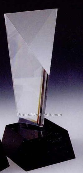 "10""x4"" Black Optic Crystal Excellence Award W/ Cube Base"