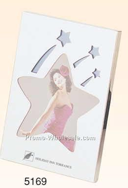 "4-1/4""x5-3/4""x3/8"" Chrome Plated Star Photo Frame (3""x3"" Photo) -screened"