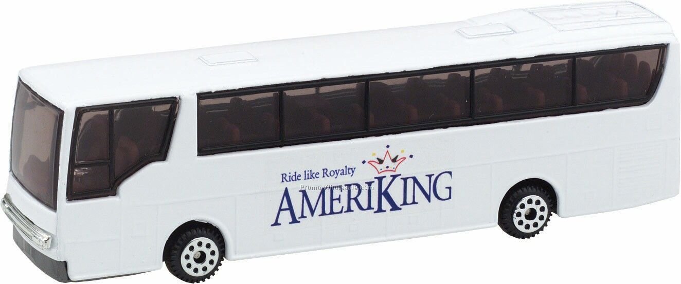 "5-3/8"" White Tour Bus Die Cast Vehicles"