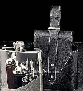 5 Oz. Stainless Steel Chrome Flask With Black Leather Carrying Case