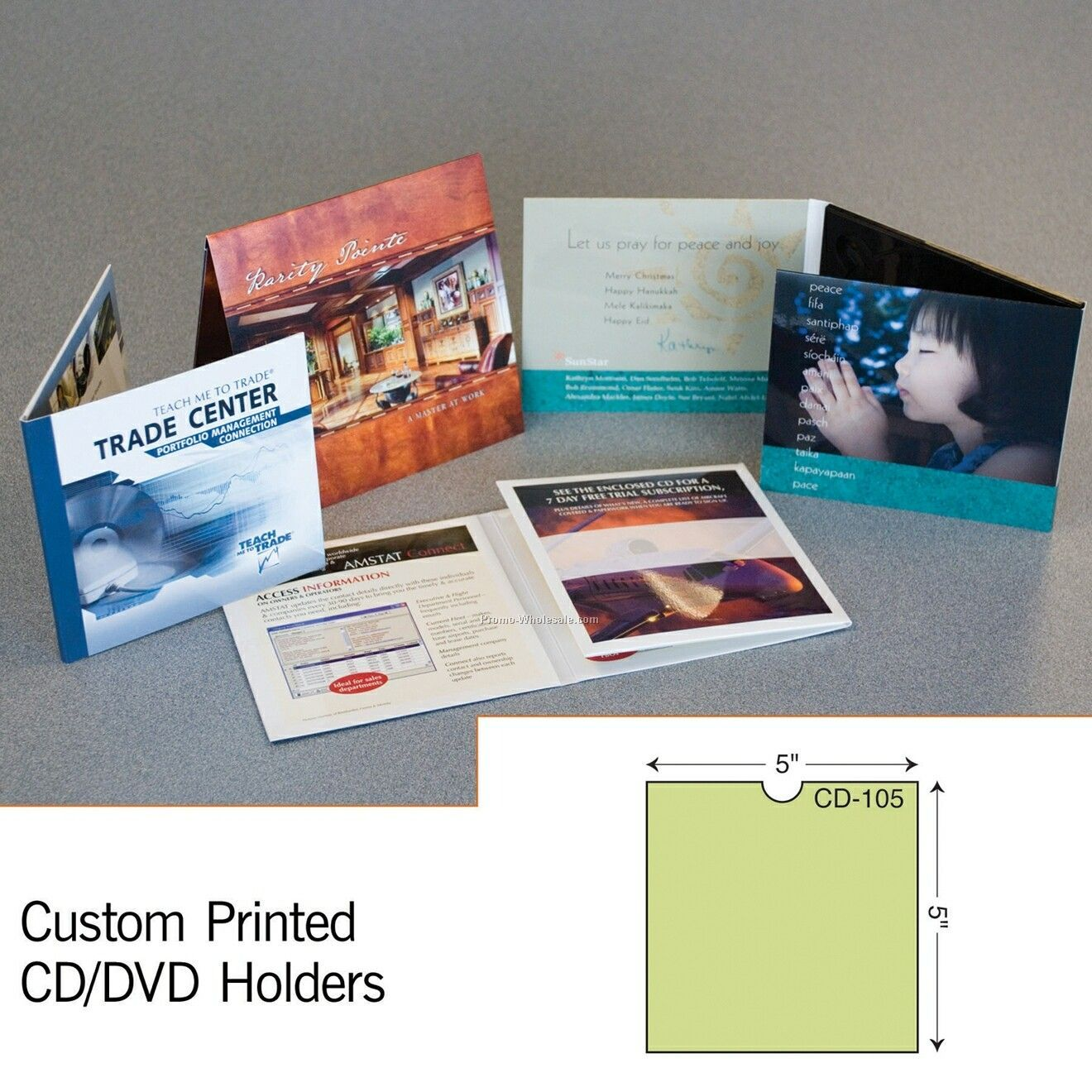 "5""x5"" CD Sleeve W/ Double Thumb Cut (1 Color)"
