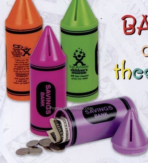 "6"" Crayon Bank W/ Stock Graphic"