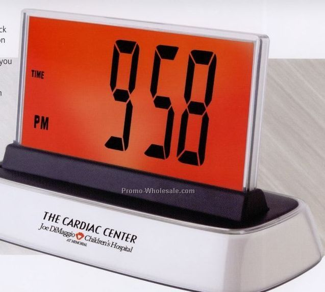 "7-5/8""x3-1/2""x4-5/8"" Jumbo Multi Color Alarm Clock With Temperature"