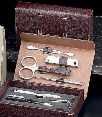 7 Piece Manicure Set With Brown Leather Case