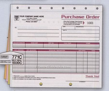 "8-1/2""x11"" 4 Part Spectra Collection Large Purchase Order"