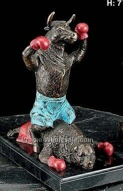 "8-1/4""x5""x7"" Knock Out Bull Sculpture"