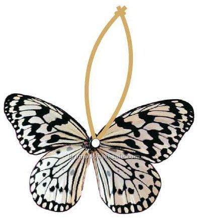 Black & White Butterfly Executive Ornament W/ Mirror Back(4 Sq. In.)