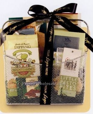 Business Classics Green Silver Mesh Gift Basket