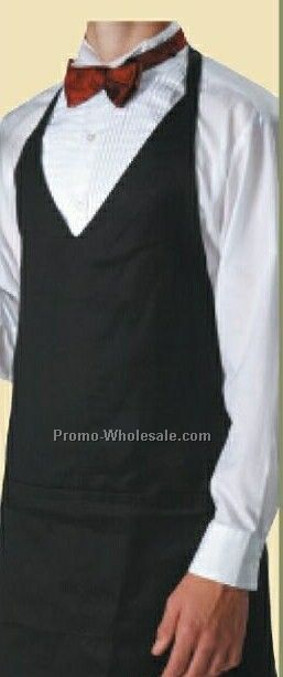 Cotton/ Poly V-neck Tuxedo Apron With 2 Pockets