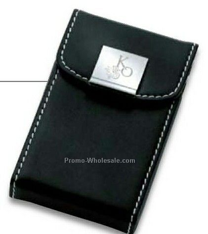 "Essentials Noir III Business Card Case With Snap Closure 2-1/2""x4"""