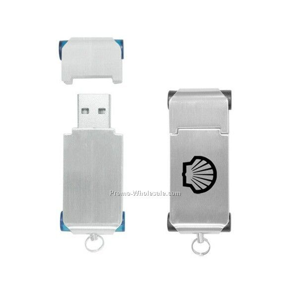 Flash Drive In Brushed Metal Case W/ Plastic Side Accents