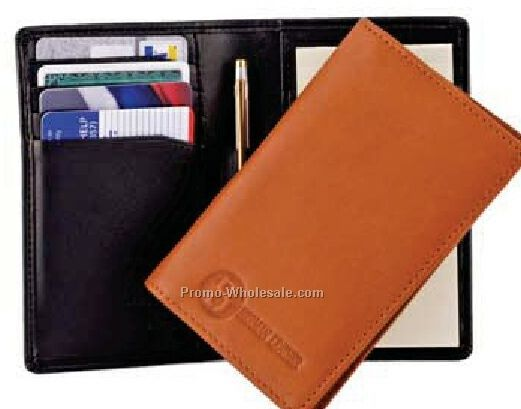Genuine Leather Credit Card Jotter With Oxford Weave Lining