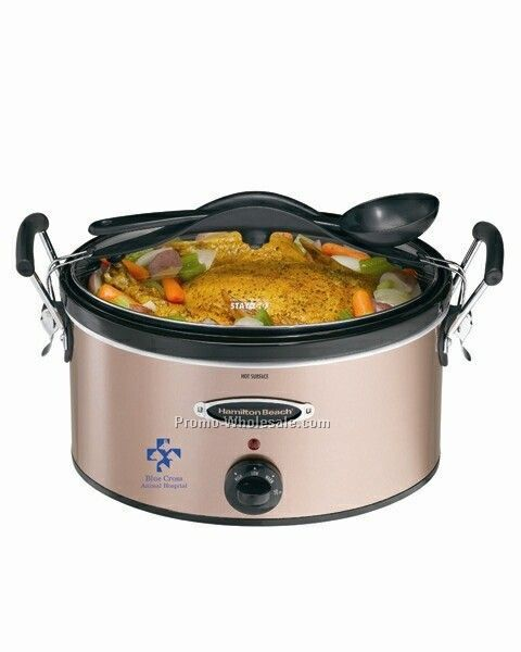 Hamilton Beach 6 Qt Oval Portable, Spoon, Carry Case, Copper, Slow Cooker