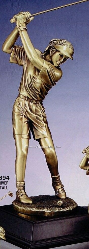 "Imperial Series Elegant Resin Gold Sculpture - 19"" Female Driver"