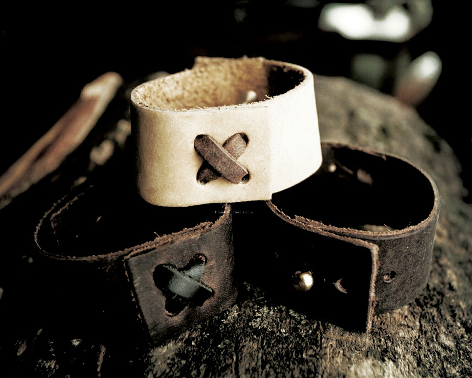 Narrow Band Leather Wristband
