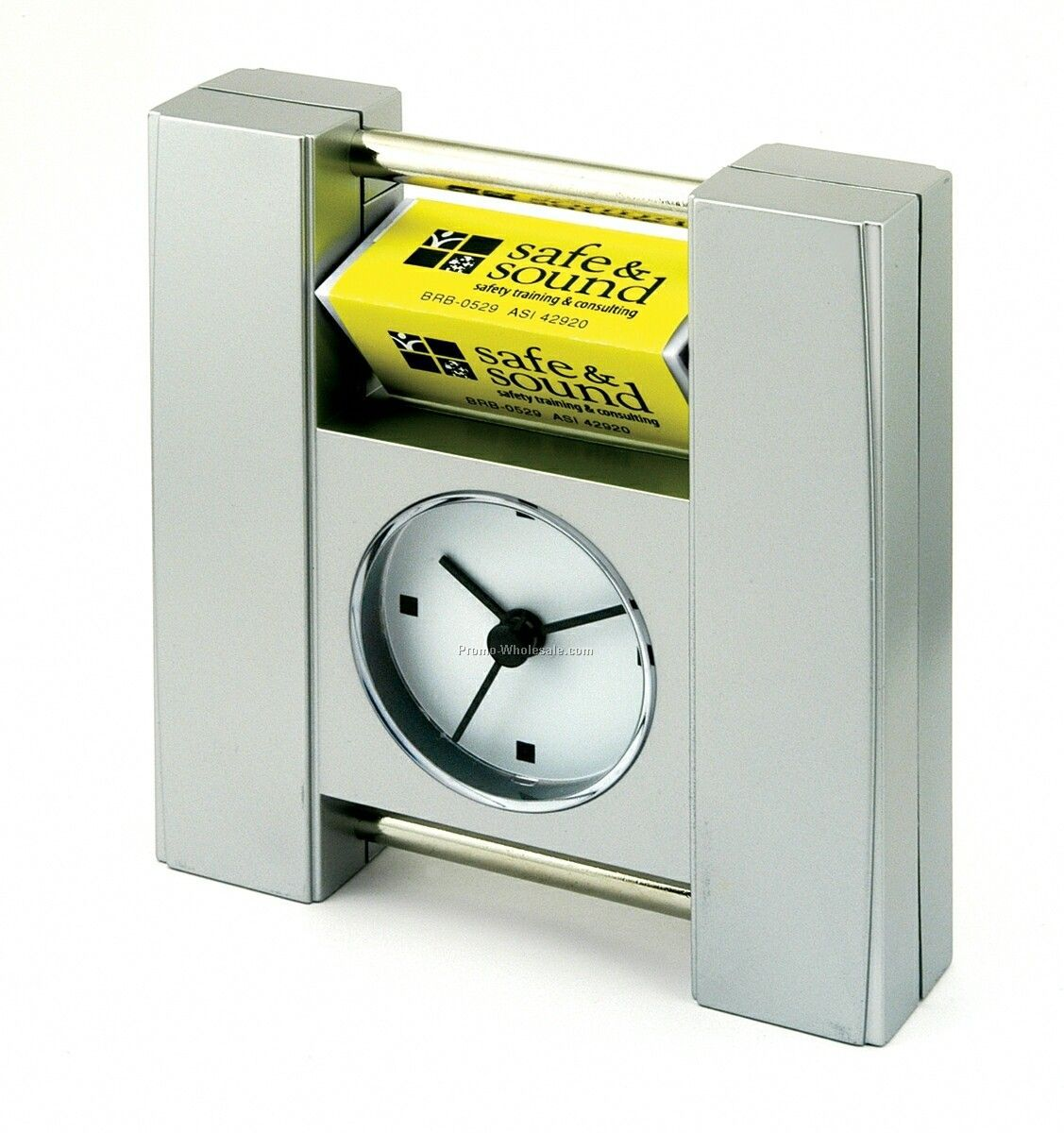 "Quartz Clock W/ Ad Runner - 4-5/8""x5"""