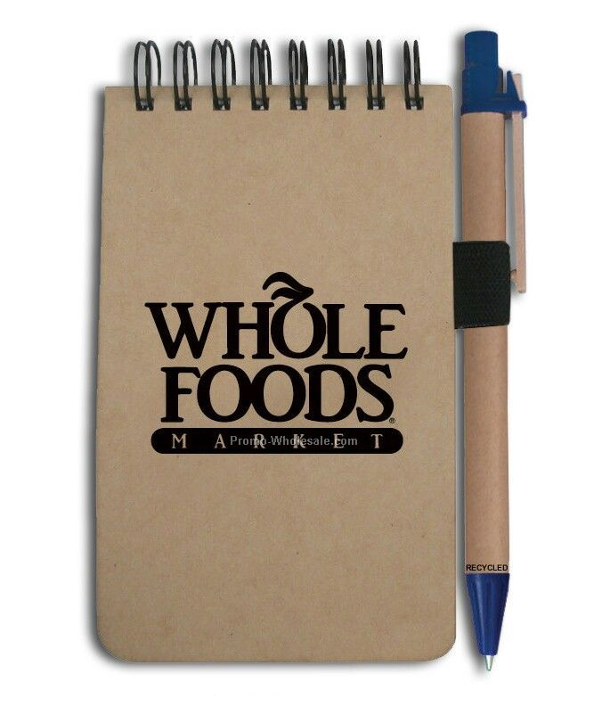 Recycled Jotter Style Notebook W/ Pen (Blue)