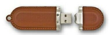 Rounded Oblong Leather W/ Stitching Flash Drives