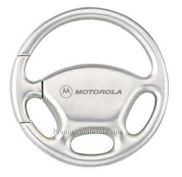 Satin Nickel Steering Wheel Shaped Key Ring