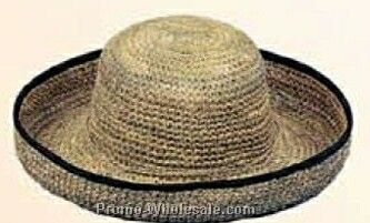 Seagrass Straw Hat W/ Black Edged Brim (One Size Fit Most)