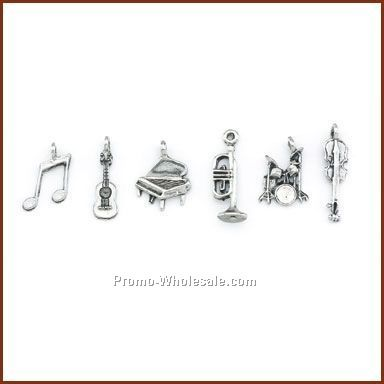 Set Of 6 Music Stock Wine Charms On Card