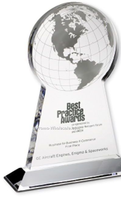 Tall Clear Globe Award (Laser Engraved)