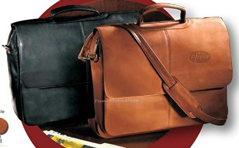 "Vaqueta Napa Leather Laptop Flap Over Briefcase (13""x17""x4"")"