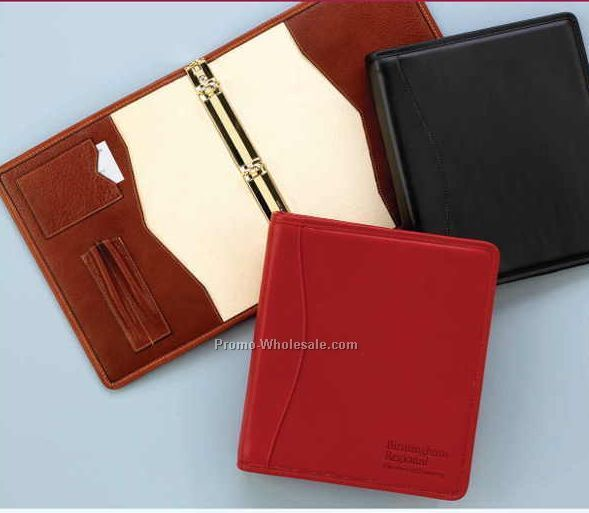 "10-1/4""x11-3/4"" Business Leather Deluxe Full Size Binder W/ 3 Rings"