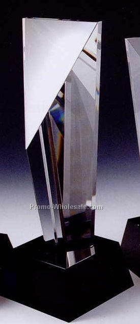 "11""x4"" Black Optic Crystal Excellence Award W/ Cube Base"